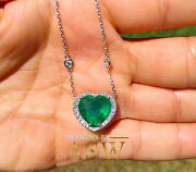 14k White Gold Heart Simulated Emerald And Diamonds Pendent And Chain 5.70ctw