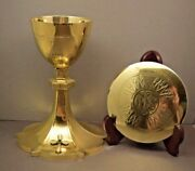 + Traditional All Sterling Silver Chalice And Paten + Made By Mcglynn + B50