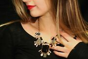 Kate Spade Facets Crystal Cluster Large Earrings And Necklace Set Clear Black Grey