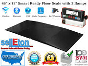 48 X 72 4x6 Smart Ready Floor Scale With 2 Ramps / Pallet Size 2500 X .5 Lb
