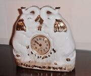 Lucky Elephants -trunk Up - White With Gold Accents- Beautiful Decorator Clock
