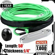 50and039 X 1/4 Green Synthetic Winch Rope Cable 7000 Lbs With Hawse Fairlead Stopper