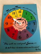 Vintage Sifo Wooden Puzzle Timmy Time Color Wheel Clock Wood 1950's
