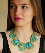 Kate Spade Blue Green Turquoise Cluster Fiesta Crystal Earrings And Necklace Set