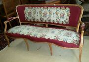 Antique French Needlepoint Louis Xv Style Settee Sofa Bench L 63 X H 33.5