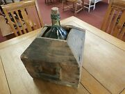 Antique Wine Demi-john Wooden Carboy With Glass Bottle 17 X 16 X 12