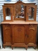 Antique French Oak Cabinet Sideboard Glass Top W Mirror H74and039and039 X W53and039and039 X D25and039and039