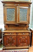Antique French Provincial Cabinet Sideboard Buffet Bottle Glass Walnut 1800s