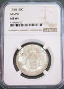 1920 Silver United States Maine Commemorative Half Dollar Ngc Mint State 64