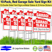 10 Pack And039garage Saleand039 18x24 Yard / Lawn Sign Kits