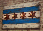 Chicago Flag In A Reclaimed Wood With A Distressed Look And Edison Light Bulbs