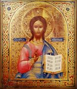 Antique 19c Hand Painted Russian Icon Christ Pantokrator On Gold