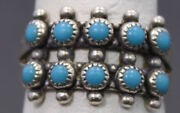 Native American Southwestern Sterling Silver Turquoise Bell Trading Post Ring