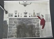 Vintage Photograph Of Race Car Driver And Trophies