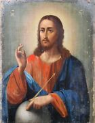 Antique 19c Hand Painted Russian Icon Of The Christ The Ruler