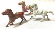 Lot Of 3 Vintage Toy Horses Colorful Marbled Plastic Made In Usa Pink Red Gray