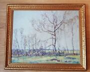 Nice Signed/framed Oil On Board/franklin Bennett 1908-2005/bare Trees Spring