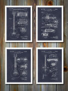 Gibson Guitars Patent Poster Prints - Set Of 4 - Unframed