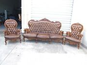 1890and039s Italian Rococo Style Brown Tufted Leather Sofa And 2 Armchair Set