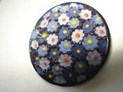 Antique One Large Cobalt Venetian Murano Glass Buttons Hand Painted Buttons