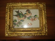 Vintage Wood Gilded Gesso Layer Picture Frame Needlepoint Gobelin