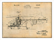 1940 Sikorsky Helicopter Patent Print Art Drawing Poster