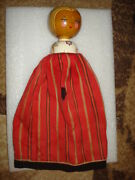 Vintage Old Hand Puppet Doll Theatre Girl Wood Head/textil Handpainted