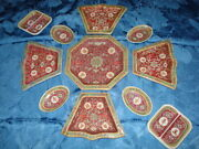 Old Red Chinese Porcelain Serving Set 11 Pieces Red Seal