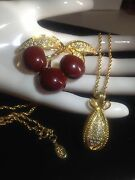 Joan Rivers Lot Cherry Pin Brooch And Pave Crystal Faberge Egg Pendant Necklace