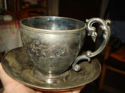 Antique Sterling Cup/saucer Marked Rare