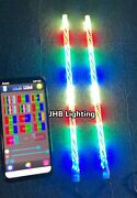 Jhb Pair 4ft Bluetooth Ctrl Dream Color Chasing Chasing Twisted Led Whips Lights