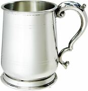 Pewter Beer Tankard 1 Pint Jacobean Shape With Double Lines And Antique Handle