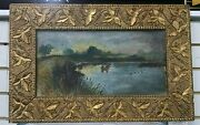 Oil Painting Coot Shooters Canvas Ornate Gilded Gesso Frame Folk Art Original