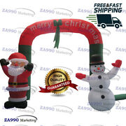 10x10ft Inflatable Santa Claus And Snowman Christmas Archway With Air Blower