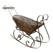 Vtg 36 Victorian Doll Sleigh Snow Ride Baby Doll Wicker Wrought Iron Wood Buggy