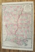 Antique Colored Map Of Arkansas/mississippi And La - Johnsonand039s Family Atlas 1863