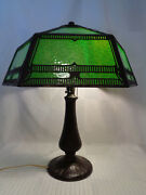 Killer Signed Handel Arts And Crafts Table Lamp Great Glass Great Patina...