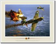 49th Fighter Group Action - Dogfight Over Oro Bay By Jack Fellows - P-40 Warhawk