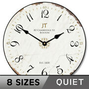 Vintage White Wall Clock Comes In 8 Sizes Whisper Quiet Lifetime Warranty
