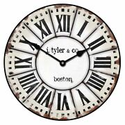 French Tower Vintage Wall Clock Ultra Quiet Non Ticking Home Decor Battery Op
