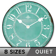 Aqua And White Wall Clock Whisper Quiet Battery Operated Non Ticking Silent
