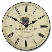 Wine Barrel Lid Wall Clock 3 Red Grapes Vintage Home Decor Non Ticking Ultra Q