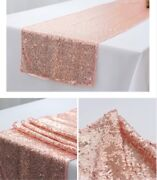 Rose Gold Sequin Chair Bands + Rose Gold Table Runners Wedding Party Decoration
