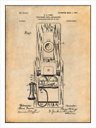 1902 Pay Telephone Patent Print Art Drawing Poster