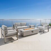 Cape Coral Outdoor 4 Seater Chat Set With Fire Pit Cast Silver Sunbrella
