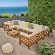 Dawson Outdoor U-shaped Sectional Sofa Set With Coffee Table - 9-piece 8-seater
