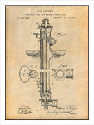 1876 Fire And Drinking Hydrant Patent Print Art Drawing Poster