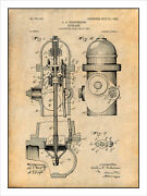 1903 Fire Hydrant Patent Print Art Drawing Poster