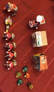 Antique Collection Of Tin Santa Claus On Tricycle Toys And Tin Bugs Toys