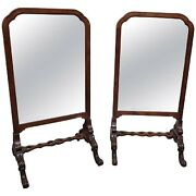 Antique English Carved Walnut Cheval Dressing Floor Mirrors Pair